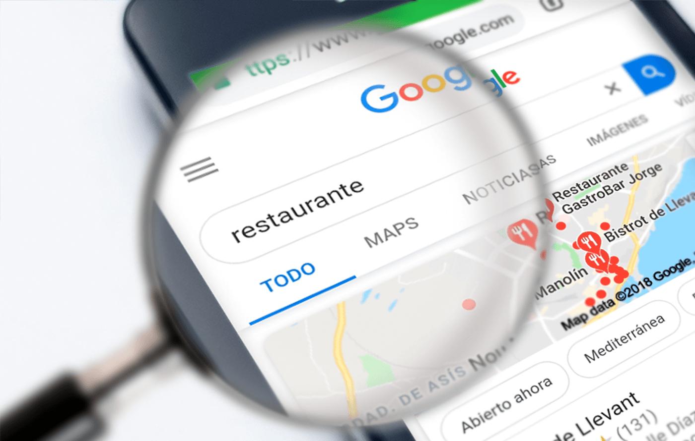 imagen de búsqueda de restaurantes posicionamiento web SEO ejemplo busquedad
