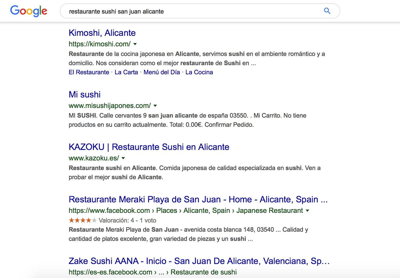 Ejemplo de búsqueda en google de restaurantes especializados en Alicante (san juan)
