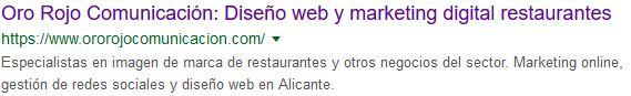 ejemplo de resultado buscador google etiqueta de meta description página web ororojocomunicacion
