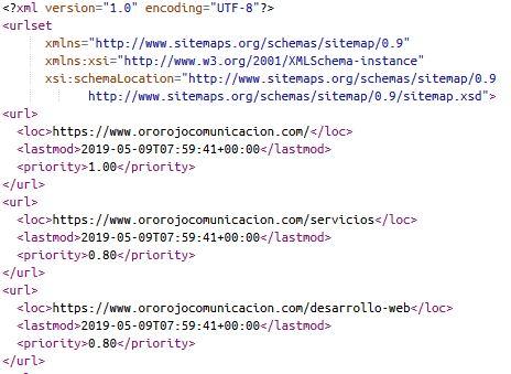 ejemplo construido de un sitemaps para mejorar el posicionamiento SEO