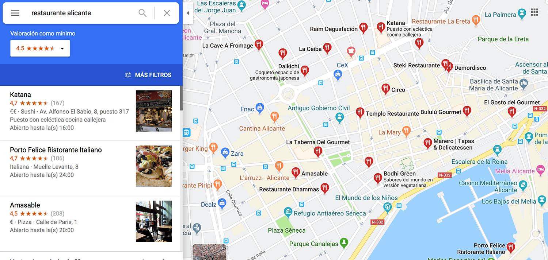 mapa de ejemplo que muestra los restaurantes de alicante en google maps
