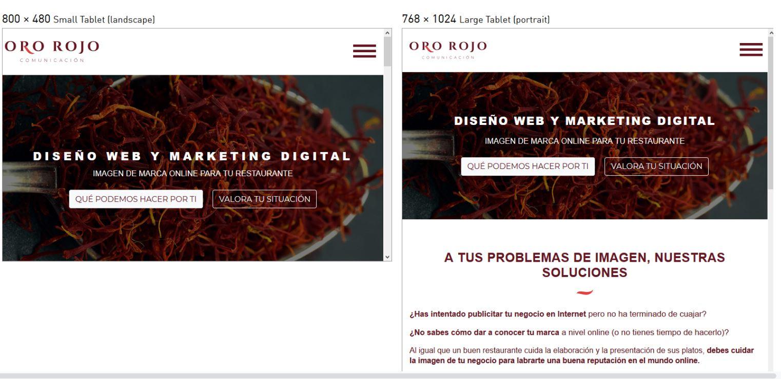 imagen mostrando la pagina web de ororojocomunicacion en varias pantallas