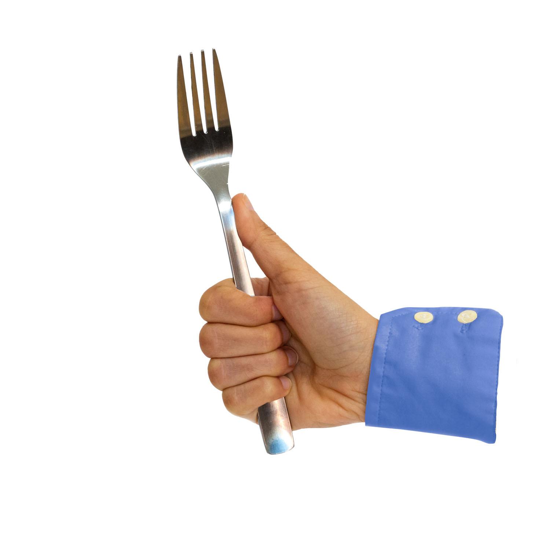 símbolo de me gusta facebook con un tenedor