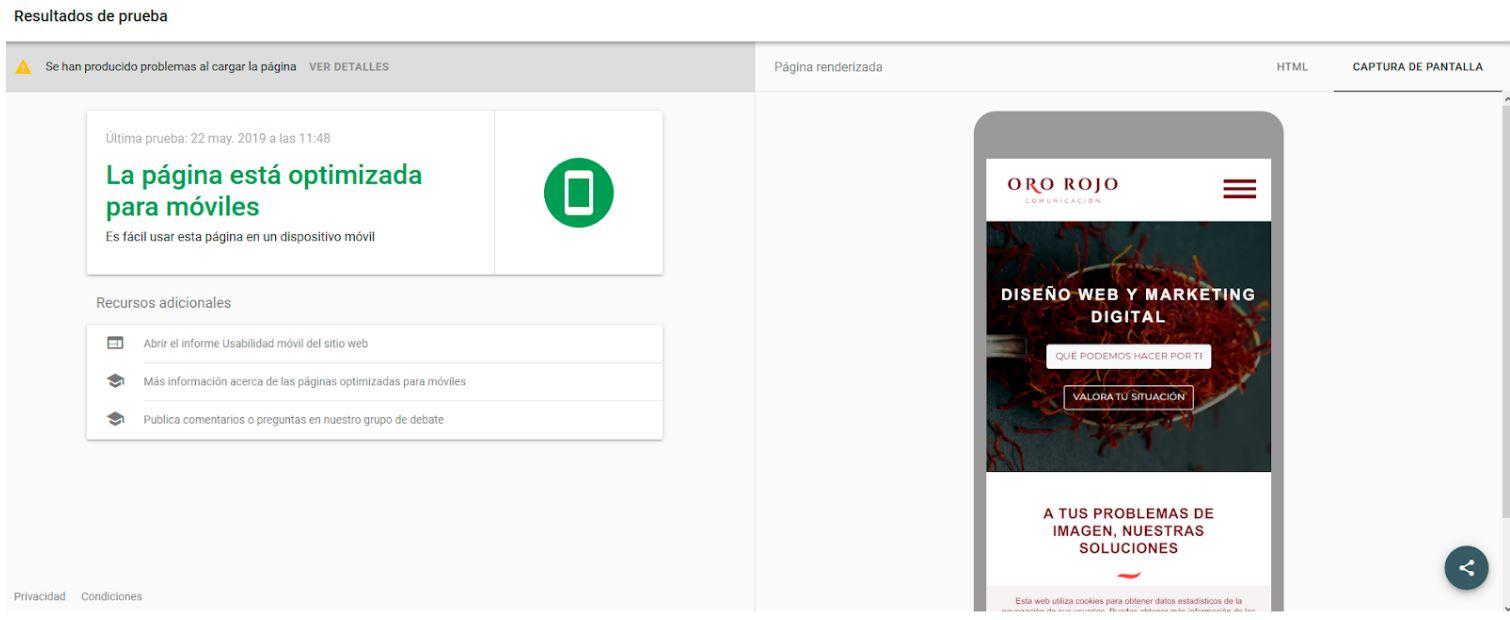 imagen de resultado de optimizacion movil de la pagina web ororojocomunicacion