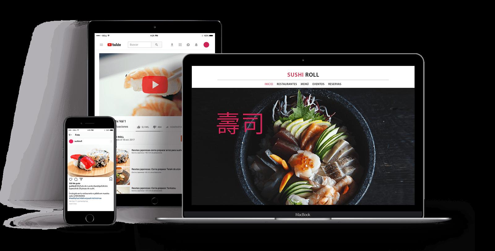 diseño responsive ejemplo Oro Rojo Comunicación diferentes dispositivos visibilidad restaurante restauración
